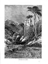 Stampa antica SANREMO antica torre diroccata Imperia Liguria 1879 Old print