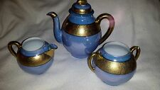 3 Piece Tea Pot Serving Set (Blue with Gold Porcelain)