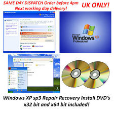 Microsoft Windows XP Pro Repair Recovery DVD SP 3 x32 & x64 bit Boot system Dos