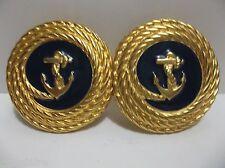 Vintage DOUGLAS PAQUETTE GOLD Tone NAVY BLUE Enamel ANCHOR Belt Buckle Signed