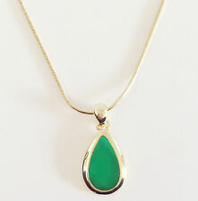 New Tear Drop Green Irish Rhinestone Goldtone Charm Chain Necklace Pendant 1406