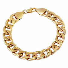 Mens jewelry 14k Yellow Gold Plated cuban link chain Bracelet 9 inch Hip Hop