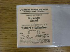 03/02/1979 Ticket: Watford v Rotherham United [Shrodells Stand, Pale Pink Ticket