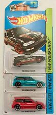 HOT WHEELS 1990 HONDA CIVIC EF (BLACK, RED, GREEN) ~ LOT OF 3