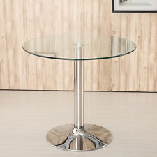 CIRCULAR GLASS TOP BISTRO/DINING TABLE BAR/CAFE STYLE TALL / ROUND BREAKFAST UK