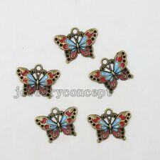 10x Vintage Bronze&Enamel Alloy Butterfly Pendants Charms Crafts DIY Jewelry J