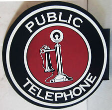 Public Telephone  Flange Metal Sign