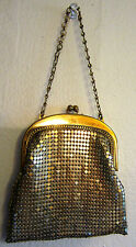 Vintage Whiting and Davis USA Small Mesh Bag Clutch Purse Chain Handle Gold Tone