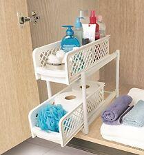 2 tier portable coulissant panier tiroir de rangement encastrable sous évier cuisine armoire panier