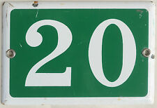Old green French house number 20 door gate plate plaque enamel steel metal sign