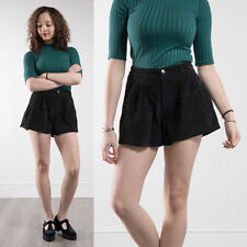 WOMENS RETRO SUEDE SHORTS BLACK HIGH WAIST CASUAL BOHO HIPPIE FESTIVAL 12