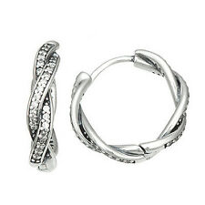 TWIST HOOP 925 Solid Sterling Silver Sparkling White Pave Faith Earrings