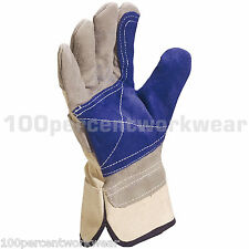 1 Pair Delta Plus DS202RP Gardening Leather Cowhide Rigger Docker Work Gloves