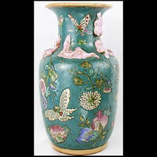 "12.5"" ANTIQUE Chinese Famille Rose Pomegranate BUTTERFLIES Ceramic VASE Quinlong"