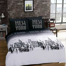 Duvet Cover & Pillow Case Bedding Pollycotton Set NEW YORK SIZE KING