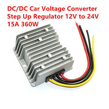 New Waterproof DC/DC Car Voltage Converter Step Up Regulator 12V to 24V 15A 360W