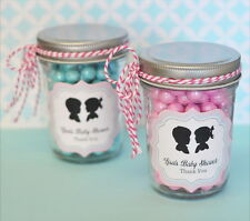 48 Personalized Gender Reveal Theme Mini Mason Jars Baby Shower Favors