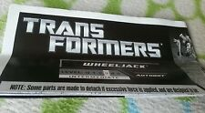 Transformers GENERATIONS WHEELJACK INSTRUCTION BOOKLET ONLY