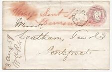 * 1859 WAKEFIELD TO PONTEFRACT LEATHAM TEW BANK COVER MISSENT TO HEMSWORTH UDC
