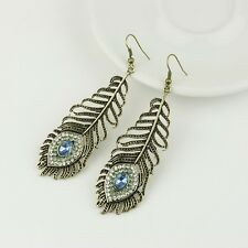 Vintage Exaggerated Eye Hollow Feather Set Auger Long Rhinestone Stud Earrings