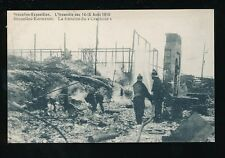 Exhibition Belgium EXPOSITION Brussels Firemen Fire DISASTER damage 1910 PPC