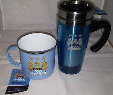Manchester City F.C. Enamel Tin Mug & Travel Mug Set Official Licensed Brand New