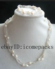 """3rows freshwater pearl white  rice necklace bracelet 18"""" 7.5"""" nature handmade"""