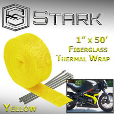 "1"" x 50' Ft Motorcycle Header Exhaust Heat Wrap Fiberglass Manifold - Yellow (C)"