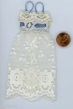 Miniature Dollhouse Lace Nightie / Off White w/ blue Ribbon Trim
