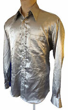Silver Metallic satin 16 34 35 Large steampunk tuxedo shirt disco lounge surfer