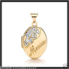 9ct Solid gold Oval MUM engraved picture Locket LK0127 Jewellery Company