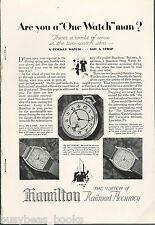 1928 HAMILTON WATCH advertisement, pocket watch and wristwatches
