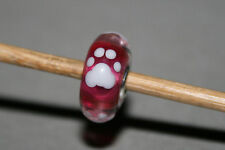 Original Trollbeads - Dog Footprint - Feet Paw - pink white Unikat Unique OOAK