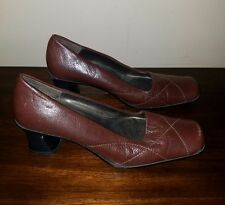 MODA Spana  Leather Medium Heel SquareToe Pumps Shoes Size 6 M