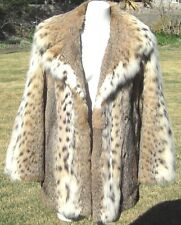 LYNX SPOTTED PRIME FUR SAKS FIFTH AVENUE FULL STROLLER LENGTH FUR COAT JACKET M