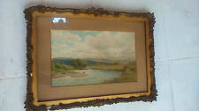 English countryside landscape signed. Peinture campagne anglaise signée