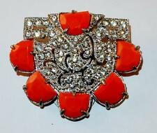 ANTIQUE ART DECO RHODIUM RHINESTONES & ORANGE GLASS HALF CIRCLES FAN DRESS CLIP