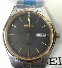 NEW Seiko SNE128 Men's Solar Dress Date Stainless Steel Two-Tone Watch