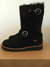 5 UGG Womens Noira Suede Leather Boots Sheepskin Lining Black 1001734 W BLK