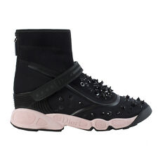 40823 auth CHRISTIAN DIOR black mesh FUSION Sneakers Shoes 38