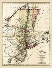 MAP ANTIQUE 1777 LOTTER NEW YORK JERSEY PENNSYLVANIA QUEBEC REPRO PRINT PAM1656