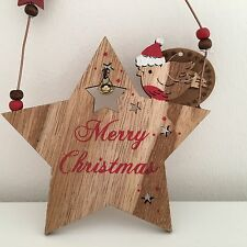 "RUSTIC WOODEN ""MERRY CHRISTMAS"" ROBIN STAR HANGING CHRISTMAS PLAQUE SIGN DECOR"