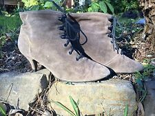 Awesome! Ladies Vintage Victorian Brown Leather Lace-Up Western Boots Sz 7-7.5