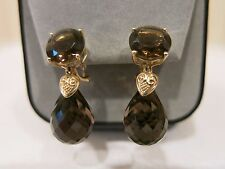 NEW 14k YELLOW GOLD SMOKY QUARTZ EARRINGS OMEGA BACK TWO STONES