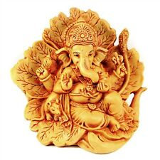 GANESHA STATUE Resin Hindu Elephant God HIGH QUALITY Sitting Leaf Leaves India