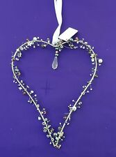 Metal Beaded Heart Hanging Decoration
