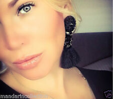 BIG BOLD BLACK TASSEL EARRINGS*Premium Red carpet celebrity Tassels earrings