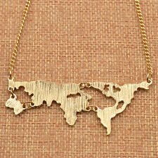 Fashion World Map Pendant Gold Plated Alloy Necklace Sweater Chain Unisex
