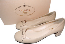 PRADA Cap Toe Low Heel Nude Leather Pump Bow Gold Logo SHoe 37.5- 7.5 Beige