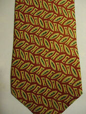 Banana Republic Silk Tie Gold Green Red Almond Shaped Design 58""